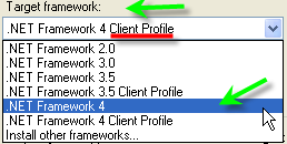 Change Framework From ClientProfile to Regular