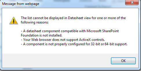 SharePoint 2010 and Office 2010 Datasheet Error Message